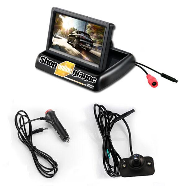 Combo Camera Cặp ô tô Lề Xóa Điểm Mù + Màn Hình 4.3in