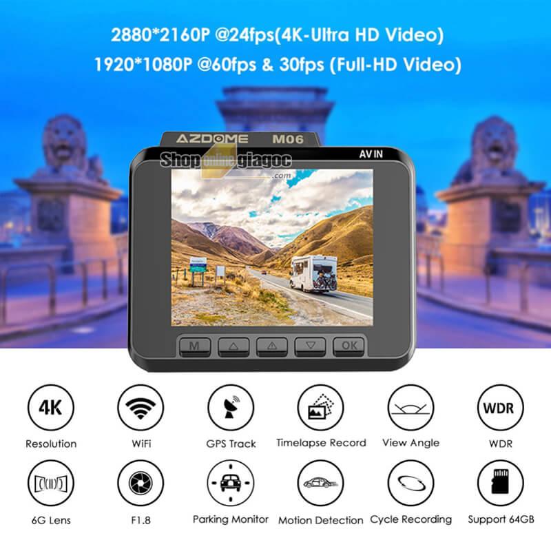 Camera Hành Trình GS63H 4K M06 Wifi Có GPS Hiển Thị Tốc Độ