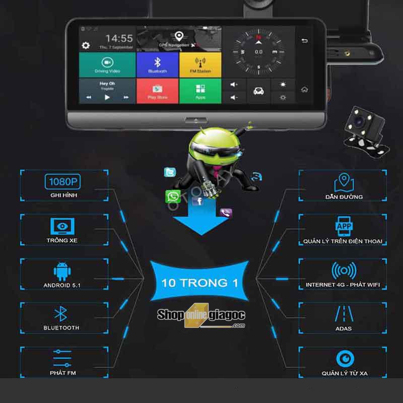 Camera Hành Trình Android P58 8 Inch HD 4G Phát Wifi, Quản Lý Xe Từ Xa