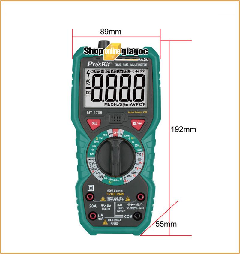 Đồng hồ vạn năng điện tử Proskit MT-1706 (TRUE RMS) - Kích thước