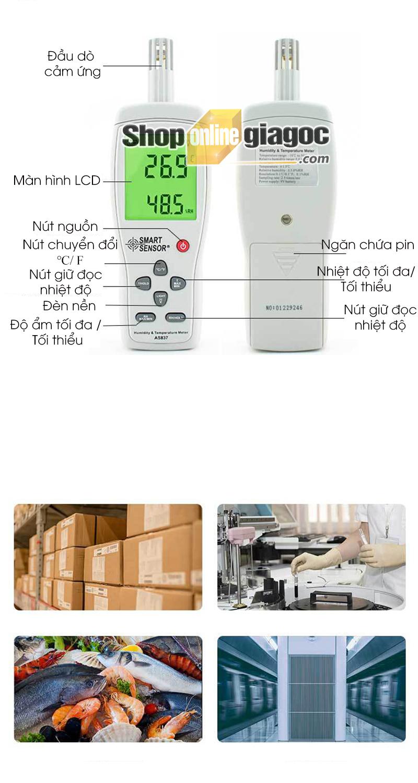 Máy Đo Nhiệt Độ Và Độ Ẩm Smart Sensor AS837