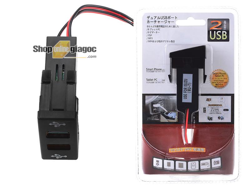 Cổng Sạc 2 USB Gắn Trong Cho Xe Isuzu12V 4.2A