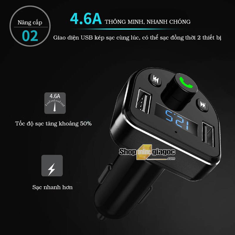 Tẩu Nghe Nhạc, Bluetooth MP3 Trên Ô Tô Có Nút Nhận Cuộc Gọi - shoponlinegiagoc