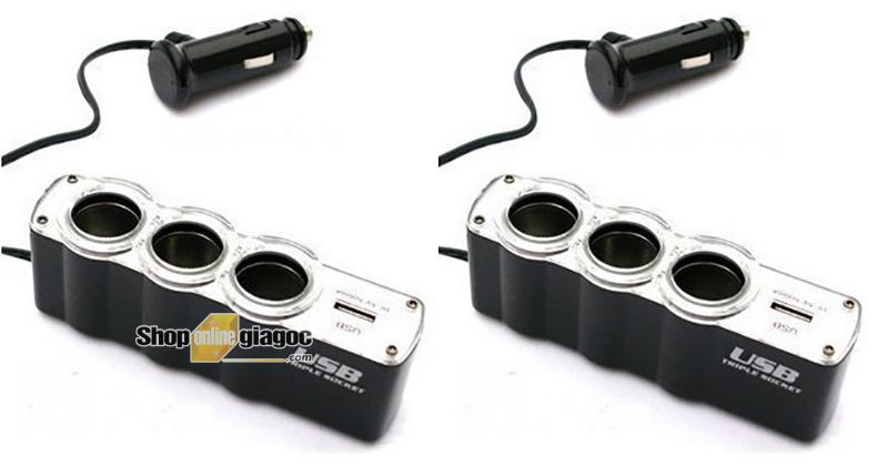 Bộ Chia 3 Tẩu Có Cổng Sạc 1 Chân USB SPW-07 - shoponlinegiagoc