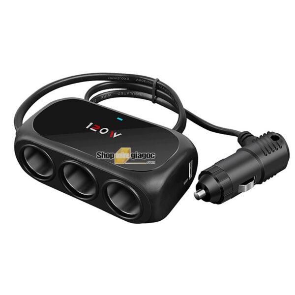 Bộ Chia 3 Tẩu Có Cổng Sạc 2 Chân USB SPW-06 - shoponlinegiagoc