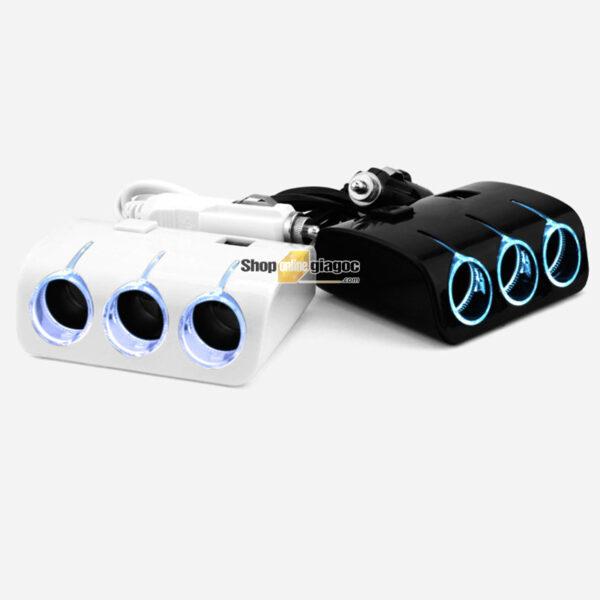 Bộ Chia 3 Tẩu Có Cổng Sạc 2 Chân USB SPW-03 - shoponlinegiagoc