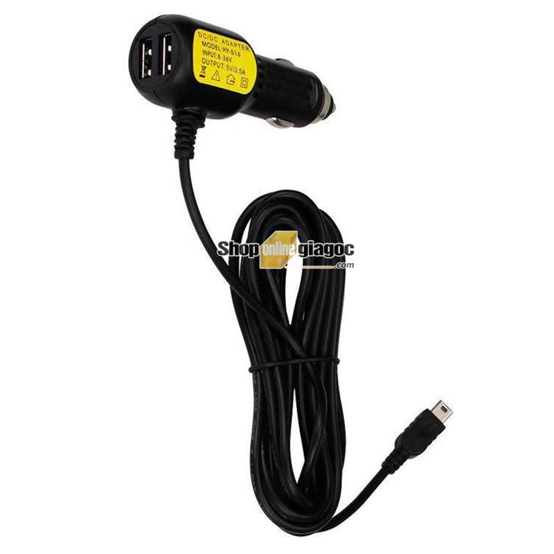 Dây Nguồn Camera Hành Trình Mini Usb Cắm Tẩu 2 cổng USB 5V 3.5A - Shoponlinegiagoc