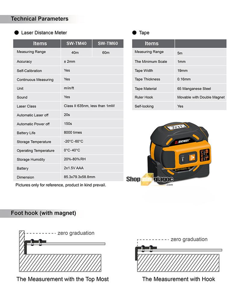 Thước Dây Và Laser 2 Trong 1 Đo Khoảng Cách SW-TM40 - shoponlinegiagoc