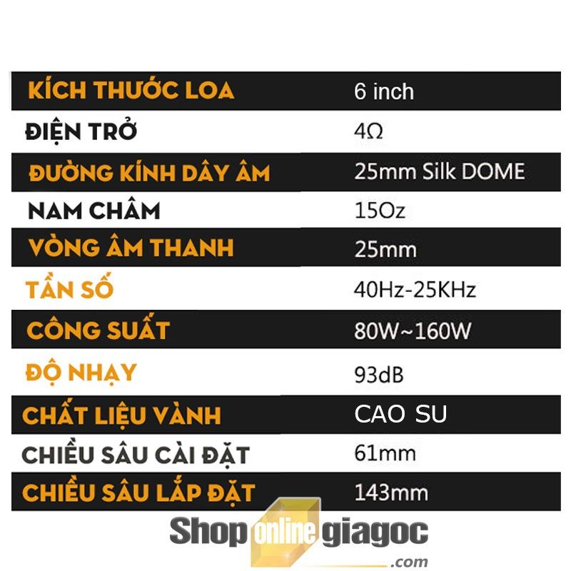 Loa Ô Tô Đồng Trục Hai Chiều 6.5 Inch K608
