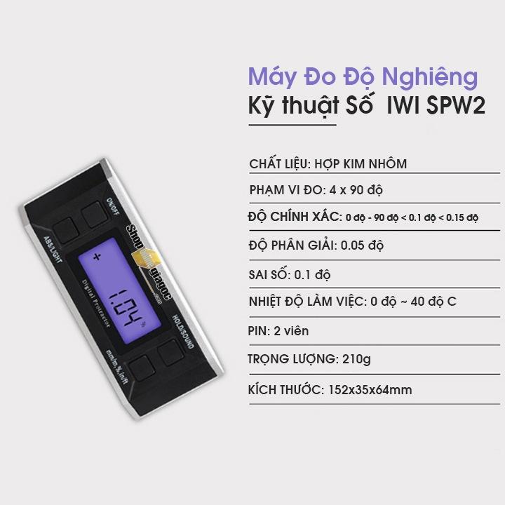 Máy Đo Độ Nghiêng Kỹ thuật số vỏ hợp kim IWI SPW2