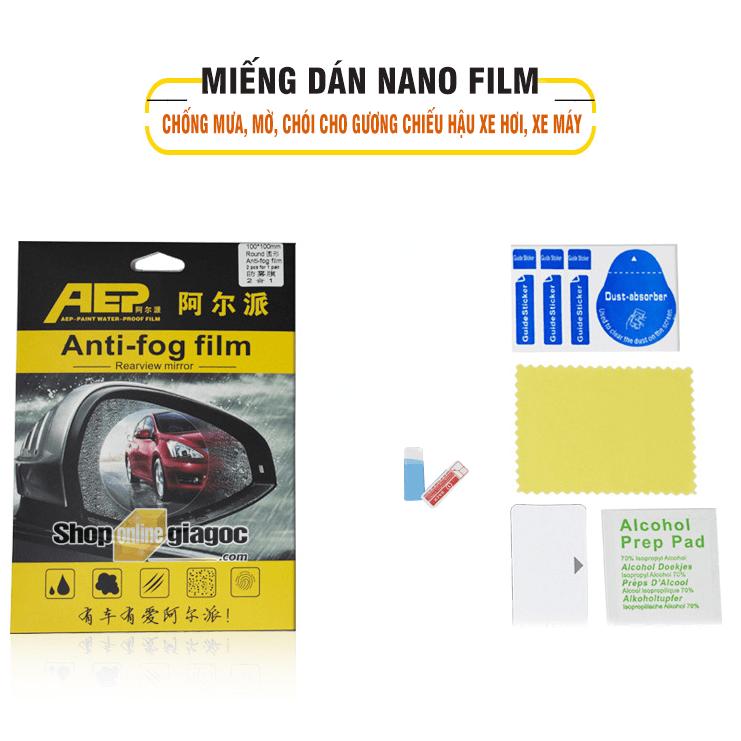 Miếng Dán NaNo Film Chống Mưa, Mờ, Chói Cho Gương Chiếu Hậu Xe Hơi, Xe Máy SPW02 (Hình vuông 16cmx20cm