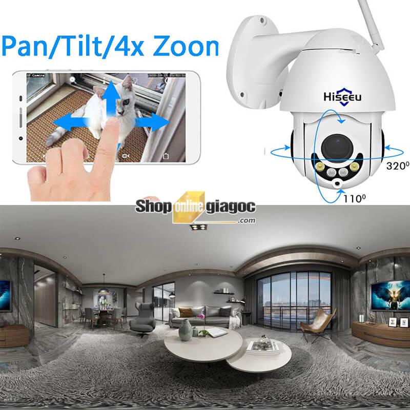 Camera IP Hiseeu WHD702-A - Camera giám sát an ninh độ phân giải full HD 1080P:
