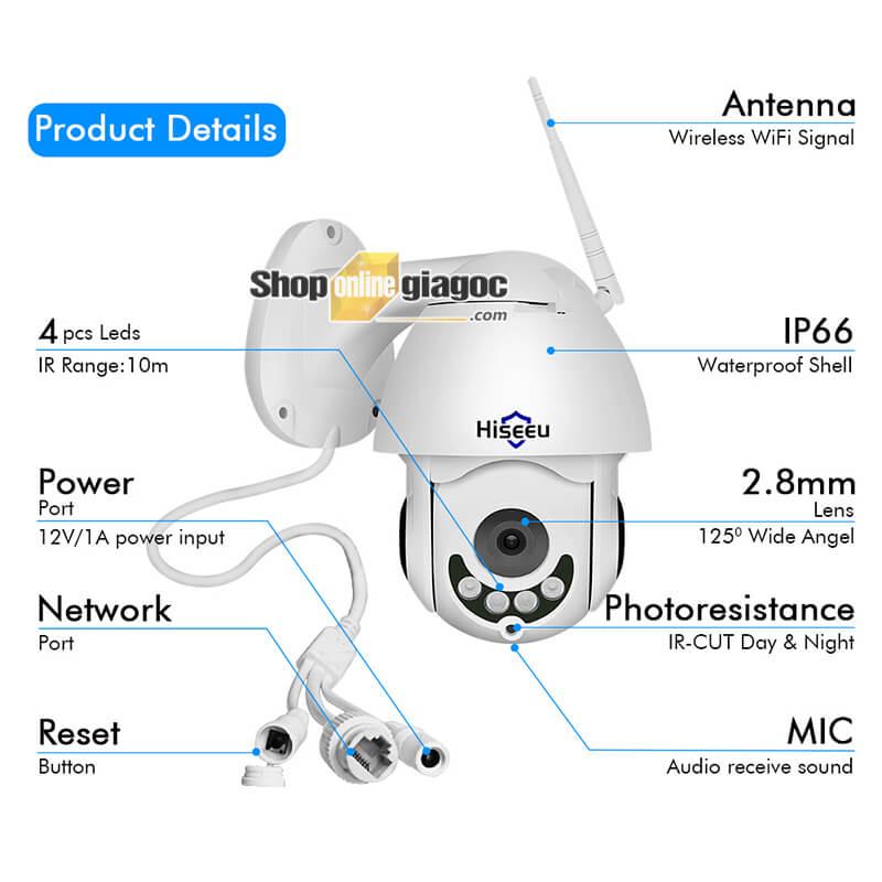 Camera IP Hiseeu WHD712 - Camera giám sát an ninh độ phân giải full HD 1080P: