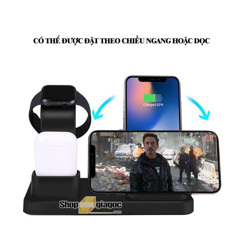 Sạc Không Dây 3 Trong 1 Cho iPhone, iWatch và Airpod HYD-WHQ12