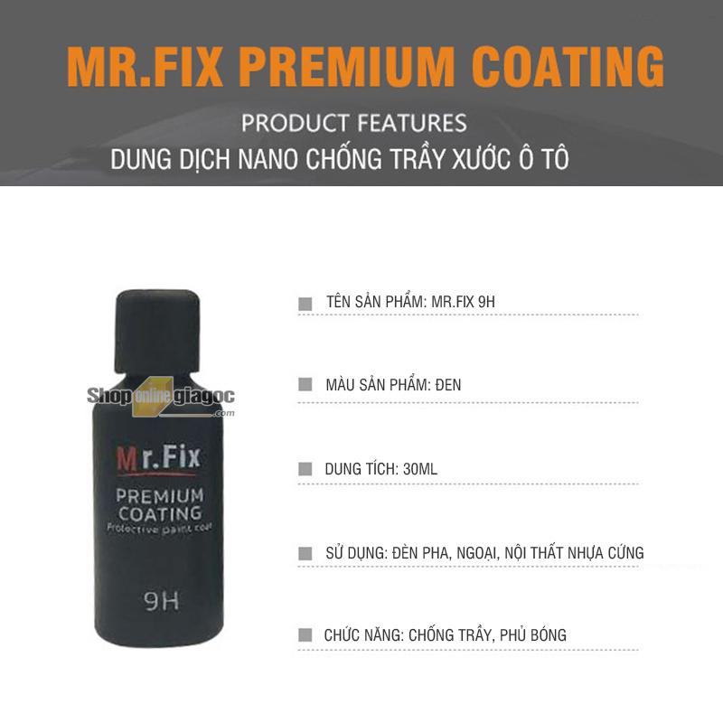 Dung Dịch Nano Chống Trầy Phủ Bóng Ô Tô Mr.Fix Premium Coating 9H