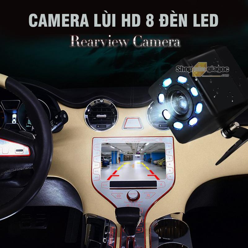 Camera Lùi Ô Tô HD Chống Nước Đảo Ngược 8 Led