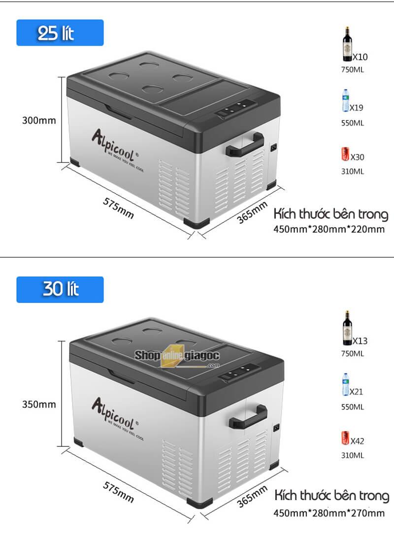 Tủ Lạnh Ô Tô Alpicool (9-75 Lít, 12V/24V/220V, Kết Nối APP)